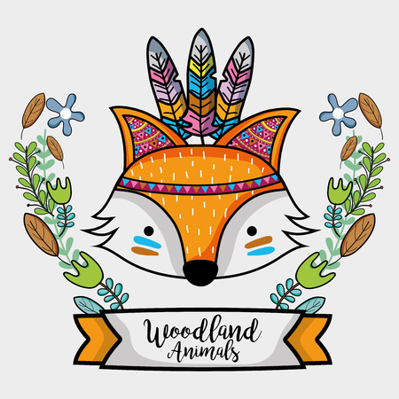 fox tribal animal with feathers design Illustration