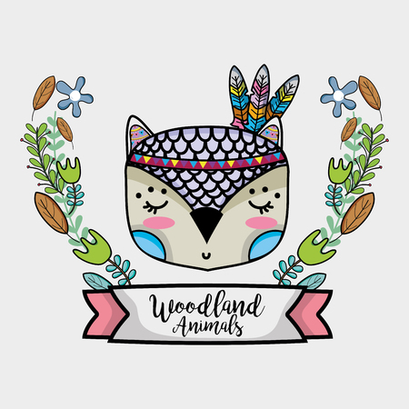 owl tribal animal with feathers and ribbon Иллюстрация