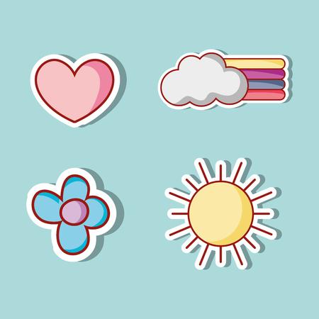 Set of cute fashion patches design illustration.