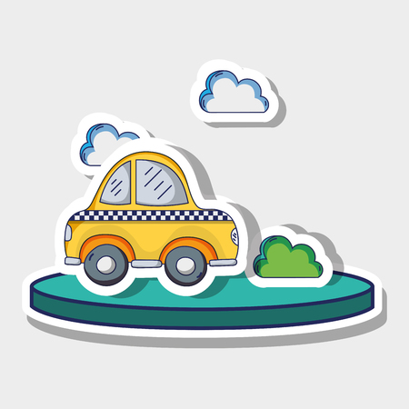Transportation cab with clouds and bush patches vector illustration