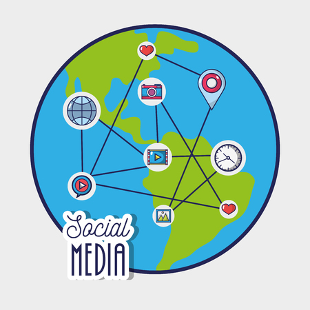social media to netword global connection vector illustration