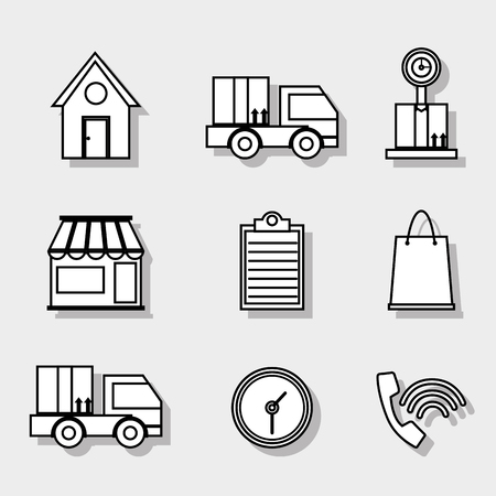 set delivery shipping business service vector illustration Vectores