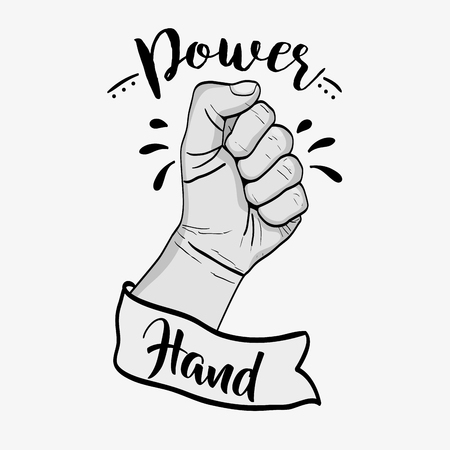 Power hand strong revolution protest vector illustration Illustration