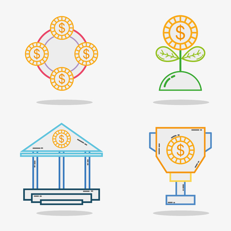 Set business economy liner icon. Illustration