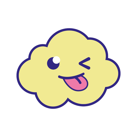 Full color funny and cute cloud kawaii weather vector illustration.