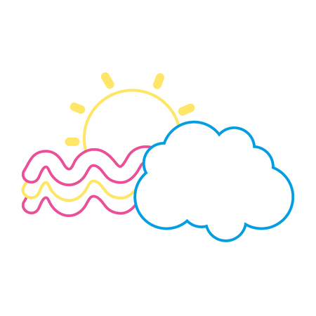 color line sun and bright rainbow with cloud in the sky vector illustration Illustration