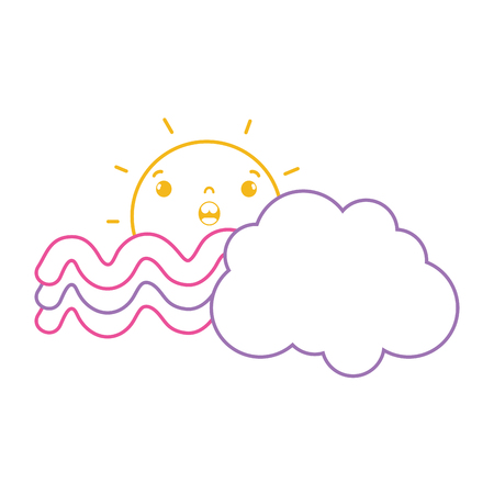 Colored  line surprised sun with cloud and rainbow weather vector illustration.