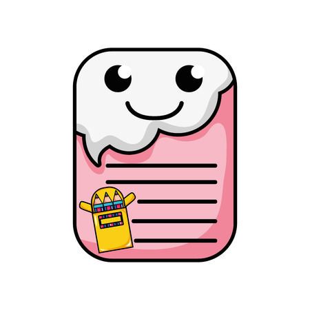 smile and cute note paper  vector illustration