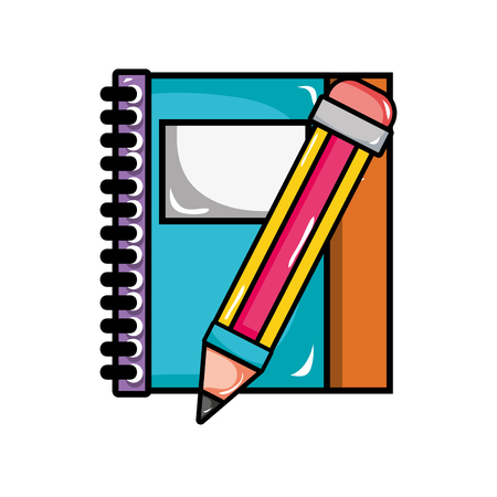 notebook and pencil object school education vector illustration