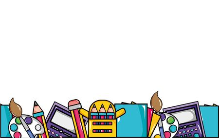 education school tools background design vector illustration