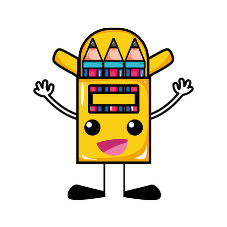Happy colored pencil kawaii with arms and legs vector illustration.