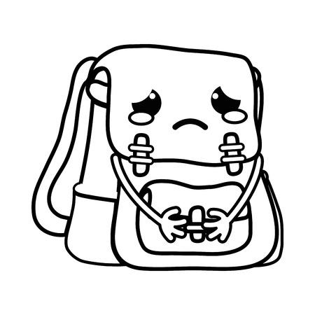 line crying and tender bag object  vector illustration Illustration