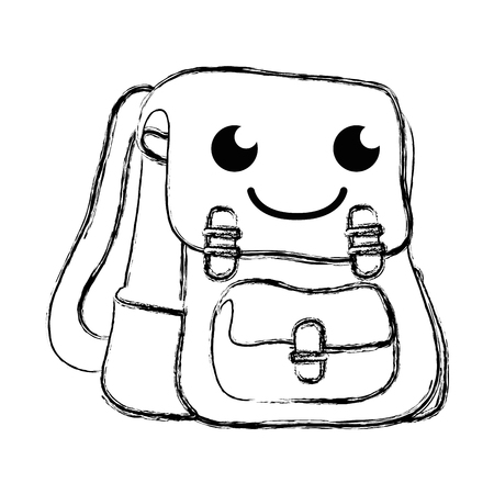 figure happy and cute bag object  vector illustration