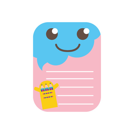 Colorful smile and cute note paper kawaii.