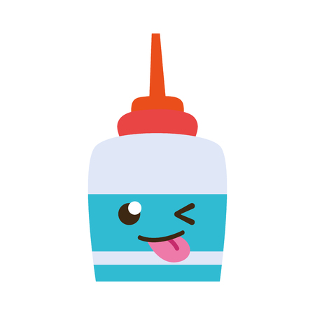 Colorful funny and cute glue object kawaii vector illustration
