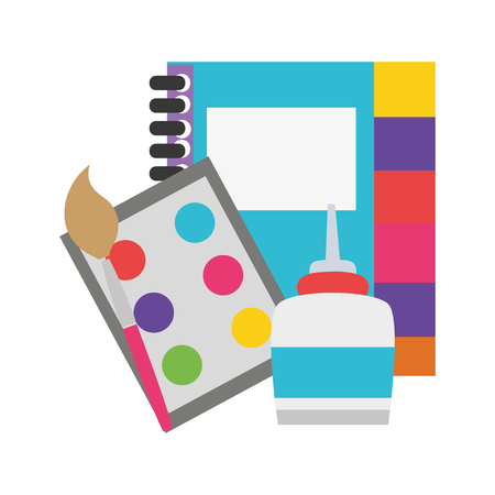 colorful notebook and watercolor with pain brush object vector illustration