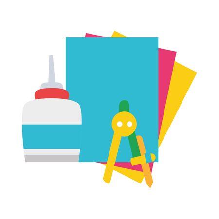 colorful glue with cardboard and compass school object vector illustration Ilustração