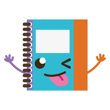 colorful funny and cute notebook object kawaii vector illustration Illustration