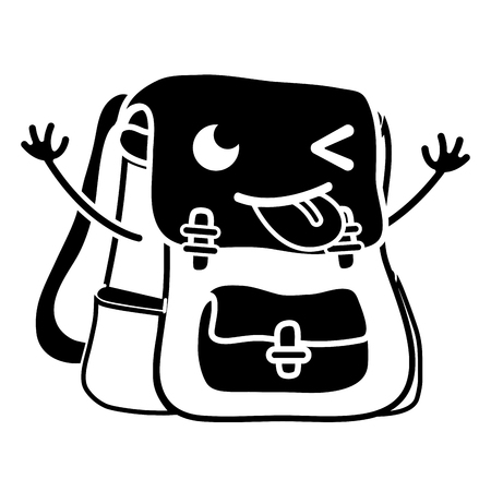 contour funny bag object  with arms vector illustration