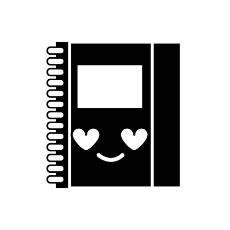 Contour cute and in love notebook object kawaii vector illustration Illustration
