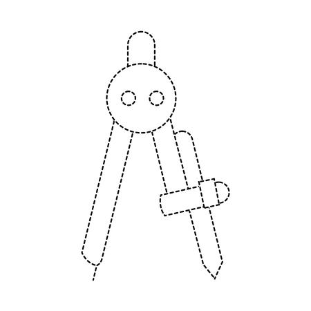 dotted shape compass school object education design vector illustration Ilustracja