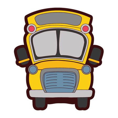 full color school bus transportation to education travel vector illustration