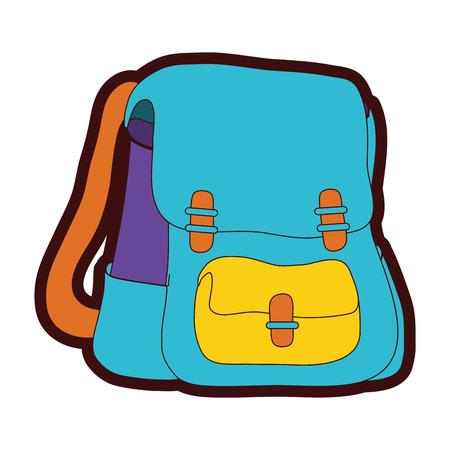full color school backpack education object design vector illustration Illustration