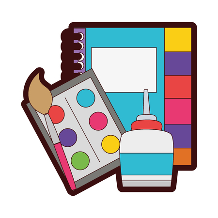 full color notebook and watercolor with pain brush object vector illustration