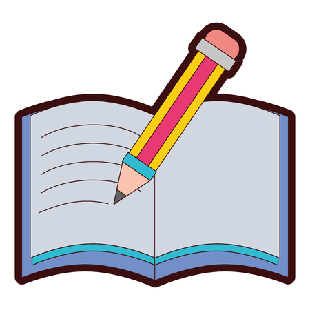 full color pencil and notebook object education school vector illustration