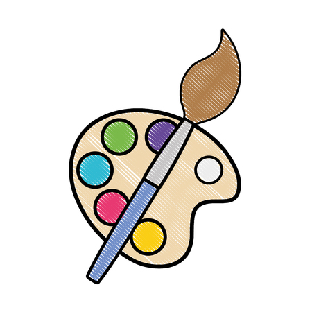 grated watercolor palette with paint brush object vector illustration