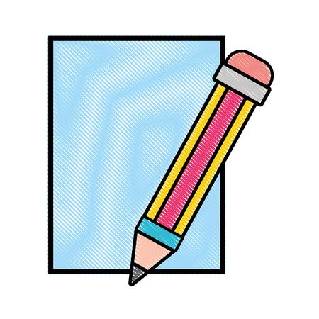 grated cardboard object with pencil utensil design vector illustration Иллюстрация