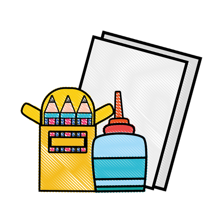 grated glue with colored pencils and cardboards object vector illustration Ilustração