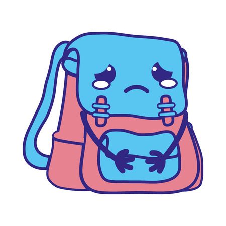 Line color crying and tender bag object vector illustration