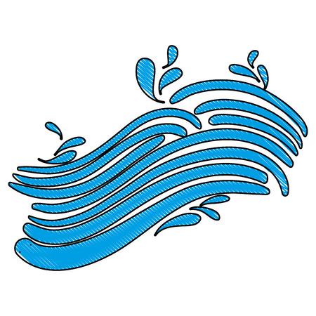 Grated line blue wave shape with splashes vector illustration Иллюстрация