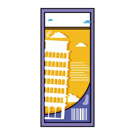 Leaning tower of Pisa ticket Illusztráció