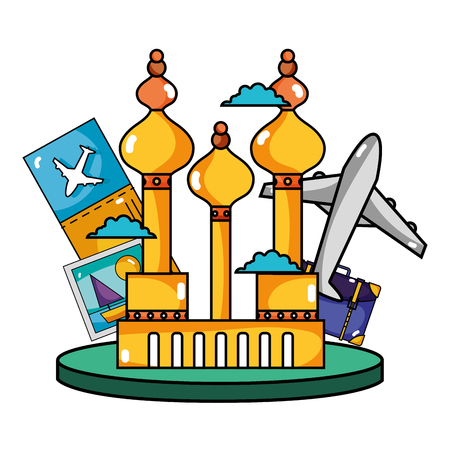 Moscow travel with ticket and journey vacation vector illustration Illustration
