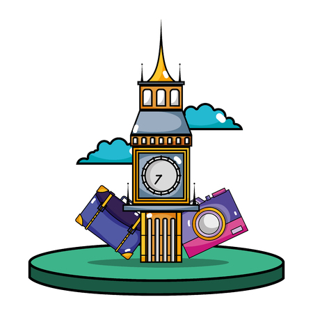 Big ben of london with backpack and camera journey vector illustration
