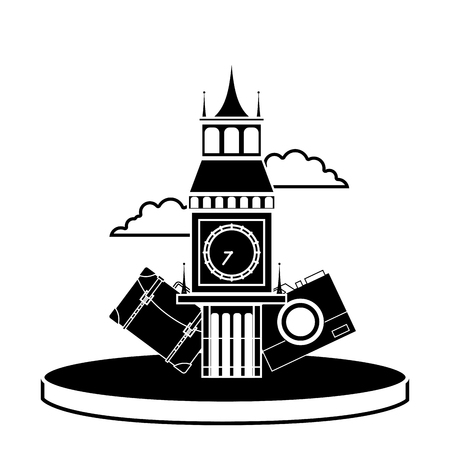 A contour big ben of london with backpack and camera journey vector illustration