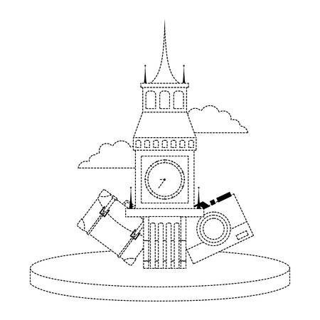 Dotted shape big ben of london with backpack and camera journey vector illustration