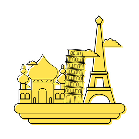 A colored taj mahal and leaning tower of pisa with eiffel tower vacation vector illustration