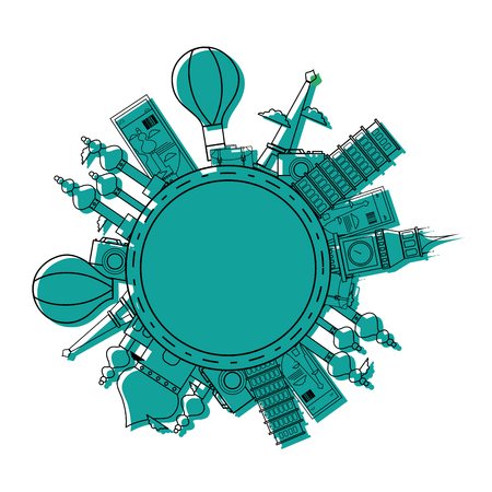 A colored world travel journey sites adventure vector illustration  イラスト・ベクター素材