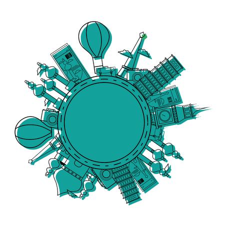A colored world travel journey sites adventure vector illustration Ilustrace