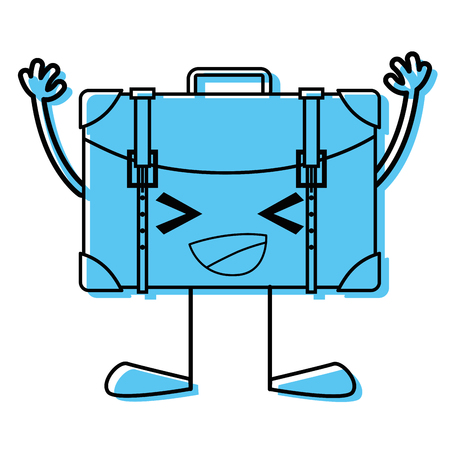 Color happy backpack with arms and legs vector illustration