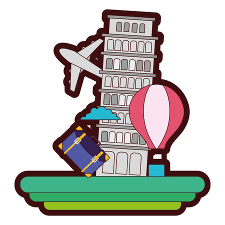 A line color leaning tower of pisa with air balloon vector illustration