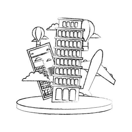 Figure leaning tower of pisa with ticket and air plane vector illustration