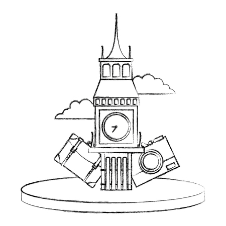Figure big ben of london with backpack and camera journey vector illustration Illustration