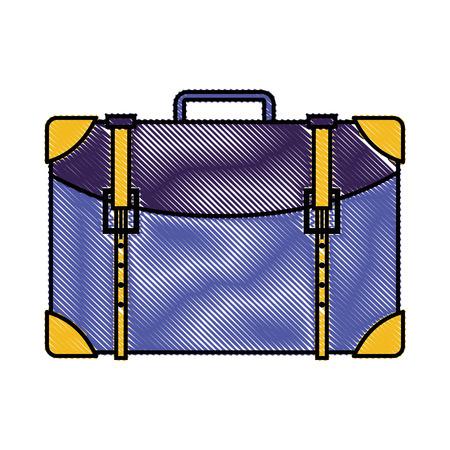 Grated travel backpack journey tourist adventure vector illustration.