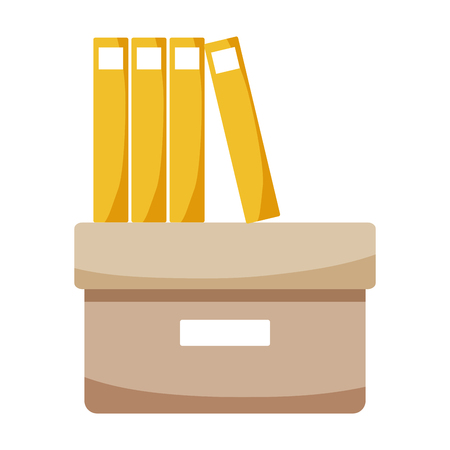 Office box with books and folders flat vector illustration Vettoriali