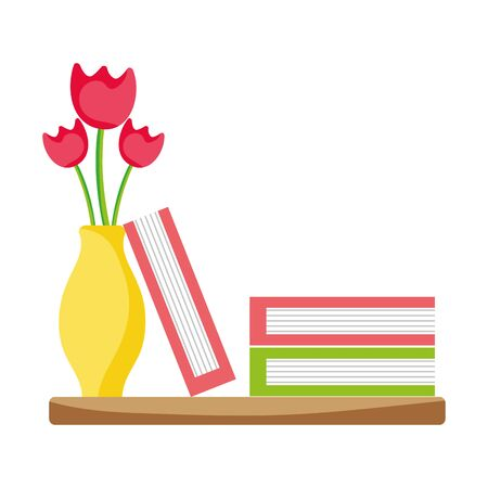 Wood shelf with flowers in the jar and books vector illustration