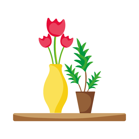Wood shelf with flowers inside jar and plants vector illustration